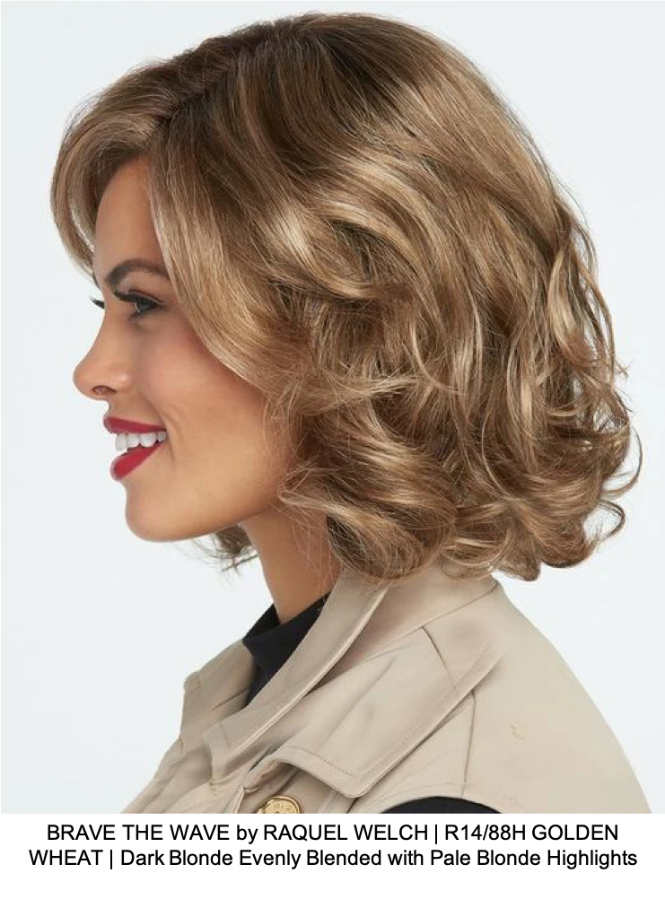 BRAVE THE WAVE by RAQUEL WELCH | R14/88H GOLDEN WHEAT | Dark Blonde Evenly Blended with Pale Blonde Highlights