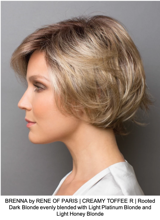 BRENNA by RENE OF PARIS | CREAMY TOFFEE R | Rooted Dark Blonde evenly blended with Light Platinum Blonde and Light Honey Blonde