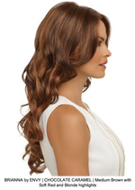 BRIANNA by ENVY | CHOCOLATE CARAMEL | Medium Brown with Soft Red and Blonde highlights