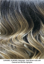 CARAMEL ALMOND | Balayage - Dark Brown roots with Caramel and Blonde highlights