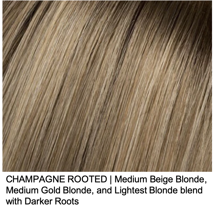 CHAMPAGNE ROOTED | Medium Beige Blonde, Medium Gold Blonde, and Lightest Blonde blend with Darker Roots