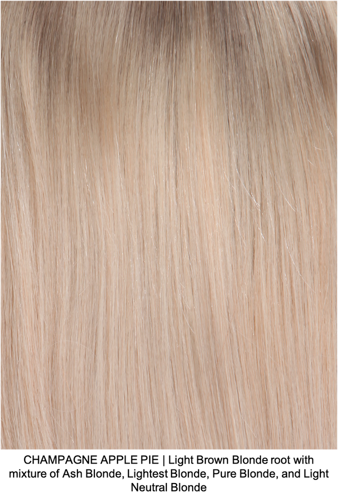 CHAMPAGNE APPLE PIE | Light Brown Blonde root with mixture of Ash Blonde, Lightest Blonde, Pure Blonde, and Light Neutral Blonde
