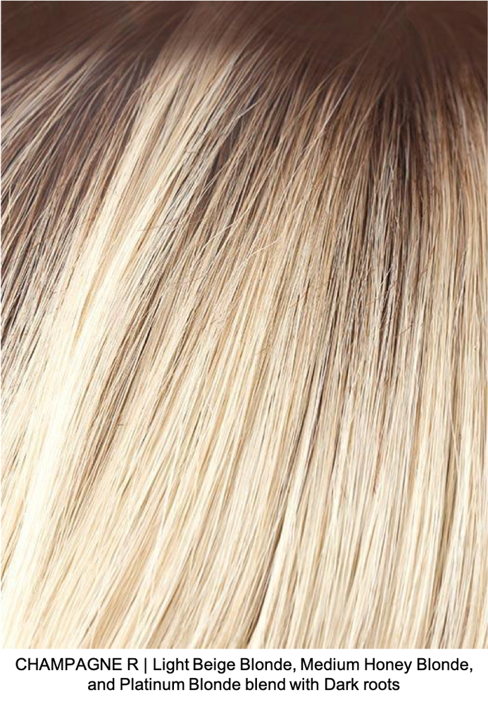 CHAMPAGNE R | Light Beige Blonde, Medium Honey Blonde, and Platinum Blonde blend with Dark roots
