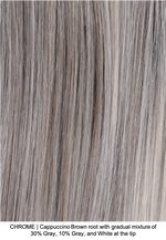CHROME | Cappuccino Brown root with gradual mixture of 30% Gray, 10% Gray, and White at the tip