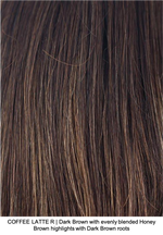 COFFEE LATTE R | Dark Brown with evenly blended Honey Brown highlights with Dark Brown roots