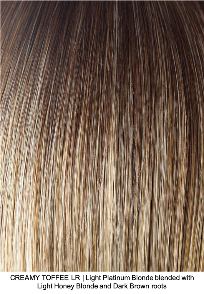CREAMY TOFFEE LR | Light Platinum Blonde blended with Light Honey Blonde and Dark Brown roots