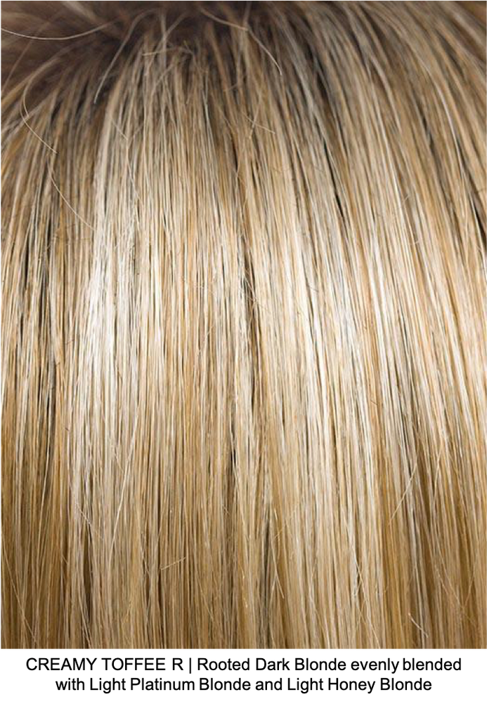 CREAMY TOFFEE R | Rooted Dark Blonde evenly blended with Light Platinum Blonde and Light Honey Blonde