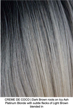 CREME DE COCO | Dark Brown roots on Icy Ash Platinum Blonde with subtle flecks of Light Brown blended in