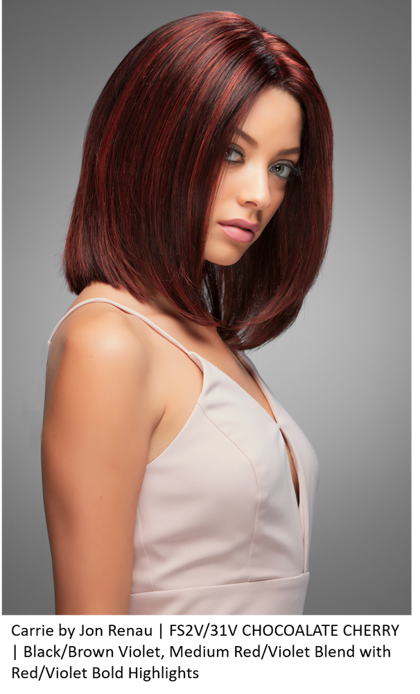 CARRIE by Jon Renau in FS2V/31V CHOCOALATE CHERRY | Black/Brown Violet, Medium Red/Violet Blend with Red/Violet Bold Highlights