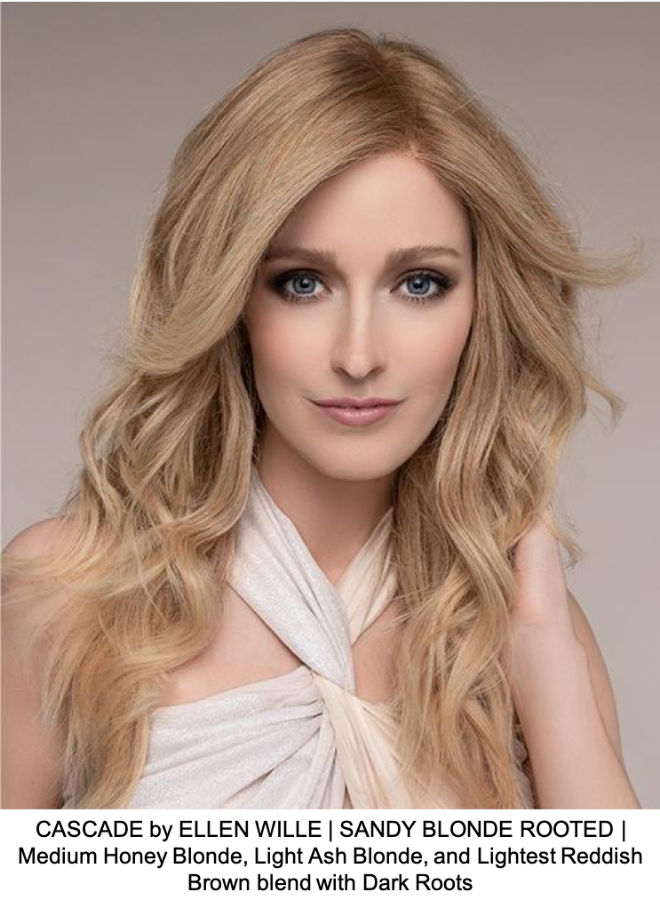CASCADE by ELLEN WILLE | SANDY BLONDE ROOTED | Medium Honey Blonde, Light Ash Blonde, and Lightest Reddish Brown blend with Dark Roots