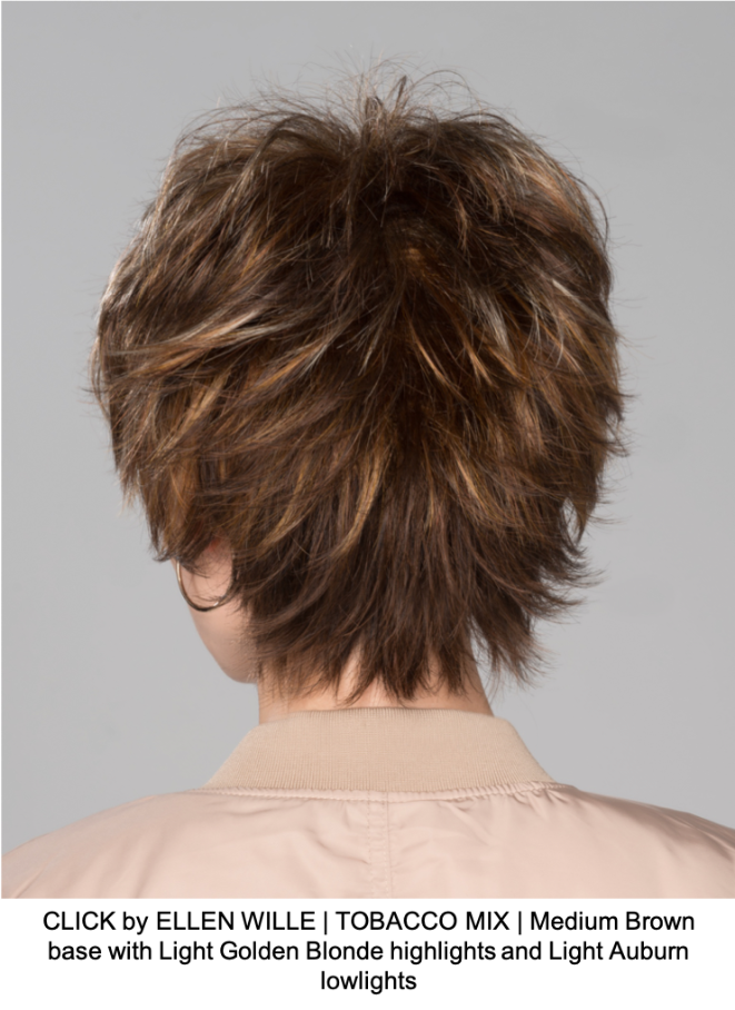CLICK by ELLEN WILLE | TOBACCO MIX | Medium Brown base with Light Golden Blonde highlights and Light Auburn lowlights