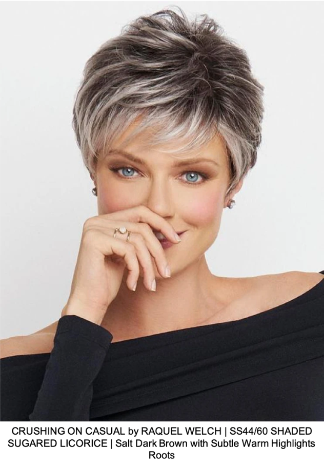 CRUSHING ON CASUAL by RAQUEL WELCH | SS44/60 SHADED SUGARED LICORICE | Salt Dark Brown with Subtle Warm Highlights Roots
