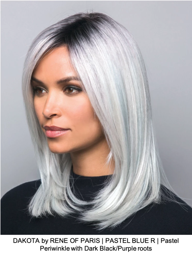 DAKOTA by RENE OF PARIS | PASTEL BLUE R | Pastel Periwinkle with Dark Black/Purple roots