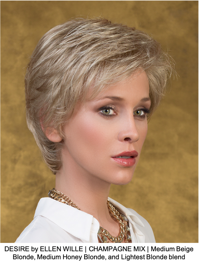DESIRE by ELLEN WILLE | CHAMPAGNE MIX | Medium Beige Blonde, Medium Honey Blonde, and Lightest Blonde blend