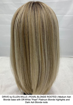 "DRIVE by ELLEN WILLE | PEARL BLONDE ROOTED | Medium Ash Blonde base with Off-White ""Pearl"" Platinum Blonde highlights and Dark Ash Blonde roots"