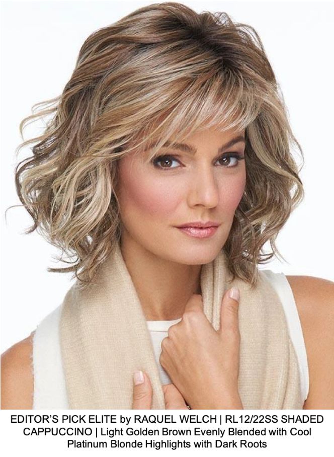 EDITOR'S PICK ELITE by RAQUEL WELCH | RL12/22SS SHADED CAPPUCCINO | Light Golden Brown Evenly Blended with Cool Platinum Blonde Highlights with Dark Roots