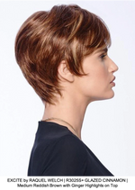 EXCITE by RAQUEL WELCH | R3025S+ GLAZED CINNAMON | Medium Reddish Brown with Ginger Highlights on Top