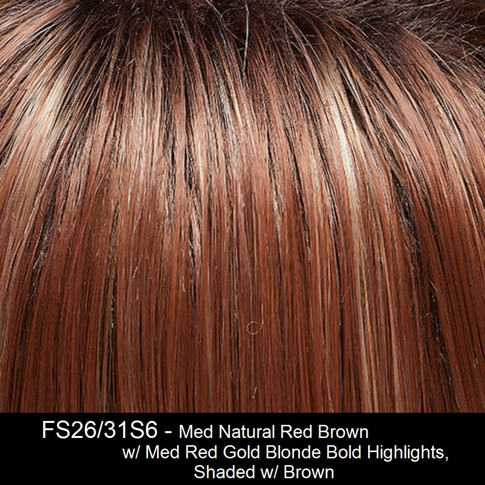FS26/31S6 Medium Natural Red Brown w/ Med Red Gold Blond Bold Higlights, Shaded w/ Brown