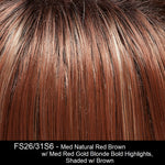 FS26/31S6 - Med Natural Red Brown w/ Med Red Gold Blonde Bold Highlights, Shaded w/ Brown