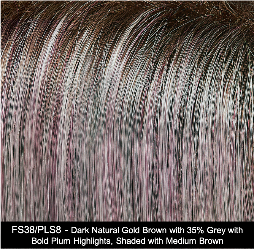 FS38/PLS8 | Dark Natural Gold Brown with 35% Grey with Bold Plum Highlights. Shaded with Medium Brown