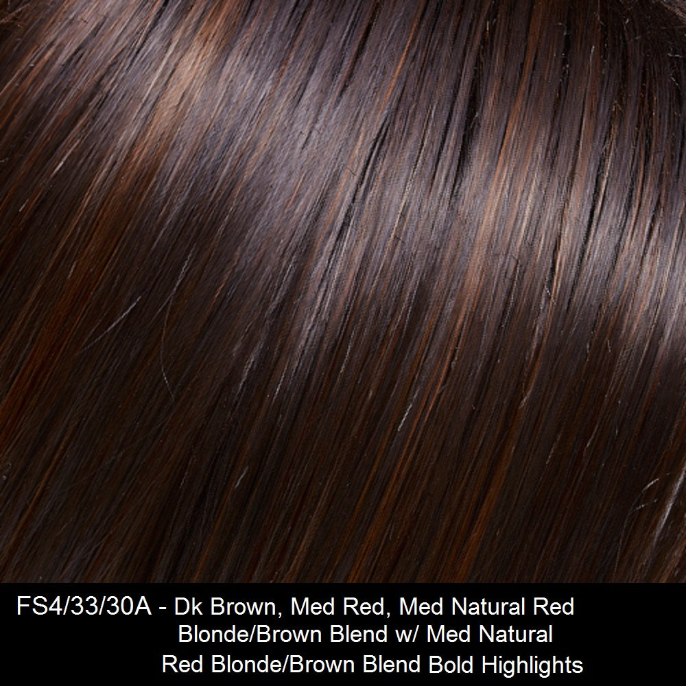 FS4/33/30A MIDNIGHT COCOA | Dark Brown, Medium Red, Medium Natural Red Blonde/Brown Blend with Medium Natural Red Blonde/Brown Blend Bold Highlights