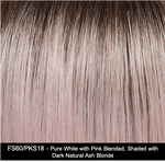 FS60/PKS18 | Pure White with Pink Blended. Shaded with Dark Natural Ash Blonde