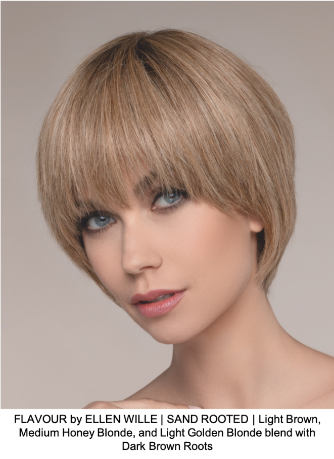 FLAVOUR by ELLEN WILLE | SAND ROOTED | Light Brown, Medium Honey Blonde, and Light Golden Blonde blend with Dark Brown Roots