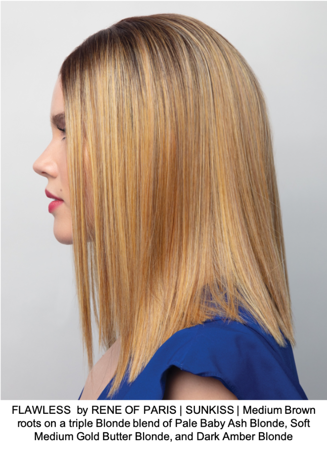 FLAWLESS  by RENE OF PARIS | SUNKISS | Medium Brown roots on a triple Blonde blend of Pale Baby Ash Blonde, Soft Medium Gold Butter Blonde, and Dark Amber Blonde