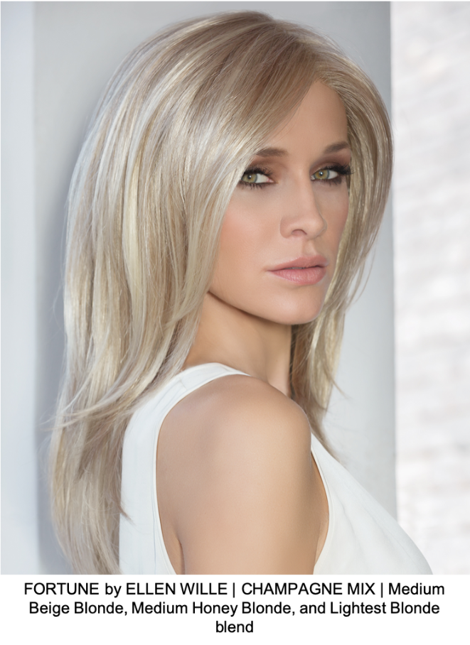 FORTUNE by ELLEN WILLE | CHAMPAGNE MIX | Medium Beige Blonde, Medium Honey Blonde, and Lightest Blonde blend