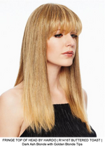 FRINGE TOP OF HEAD BY HAIRDO | R1416T BUTTERED TOAST | Dark Ash Blonde with Golden Blonde Tips