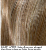 GOLDEN NUTMEG | Medium Brown roots with overall Warm Cinnamon base and Golden Blonde highlights