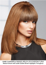 GAME CHANGER by RAQUEL WELCH | R10 CHESTNUT | Rich Medium Brown with subtle Golden Brown Highlights Throughout