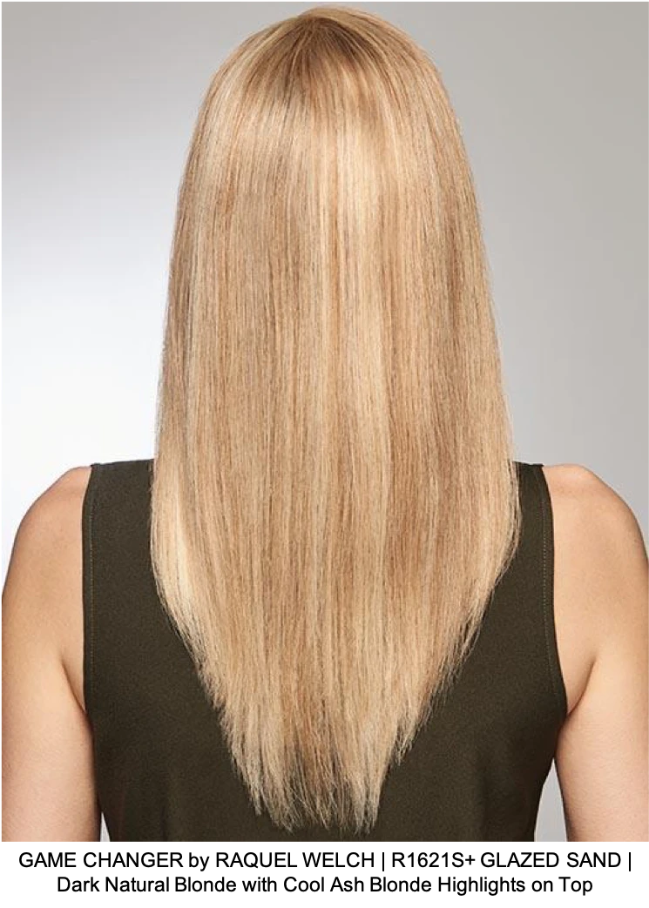 GAME CHANGER by RAQUEL WELCH | R1621S+ GLAZED SAND | Dark Natural Blonde with Cool Ash Blonde Highlights on Top