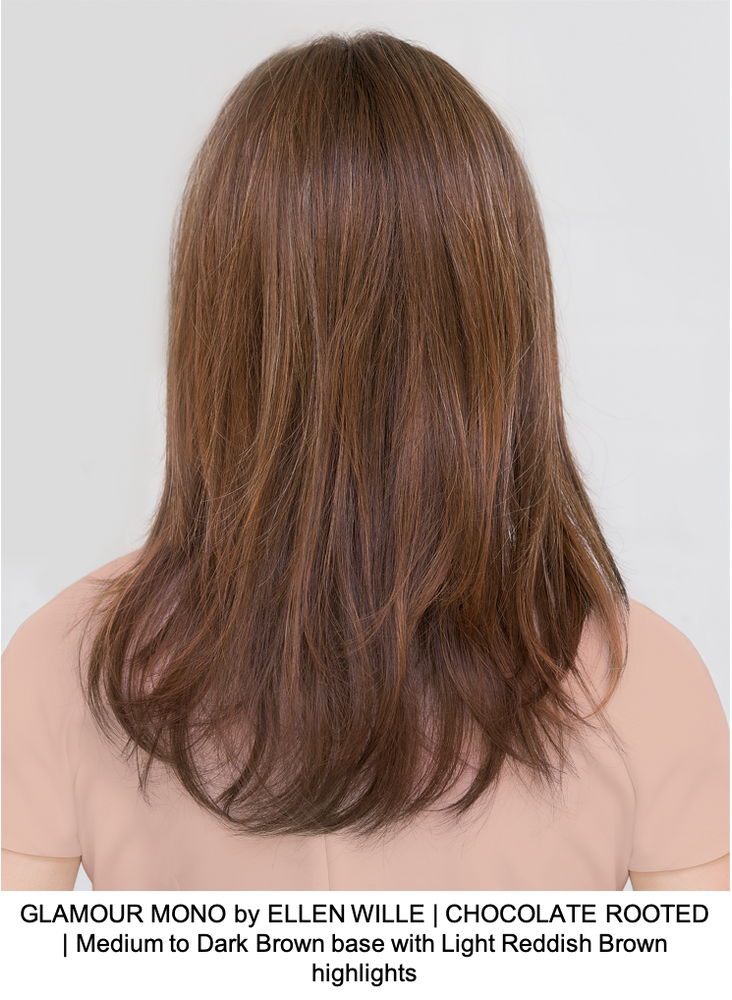 GLAMOUR MONO by ELLEN WILLE | CHOCOLATE ROOTED | Medium to Dark Brown base with Light Reddish Brown highlights