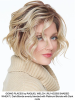GOING PLACES by RAQUEL WELCH | RL14/22SS SHADED WHEAT | Dark Blonde evenly blended with Platinum Blonde with Dark roots