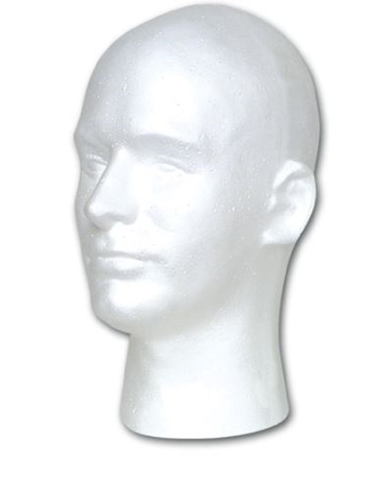 Male Face Styrofoam Mannequin Head