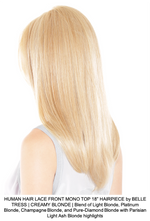 "HUMAN HAIR LACE FRONT MONO TOP 18"" HAIRPIECE by BELLE TRESS 