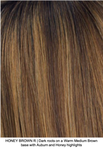 HONEY BROWN R | Dark roots on a Warm Medium Brown base with Auburn and Honey highlights