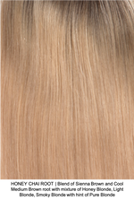 HONEY CHAI ROOT | Blend of Sienna Brown and Cool Medium Brown root with mixture of Honey Blonde, Light Blonde, Smoky Blonde with hint of Pure Blonde