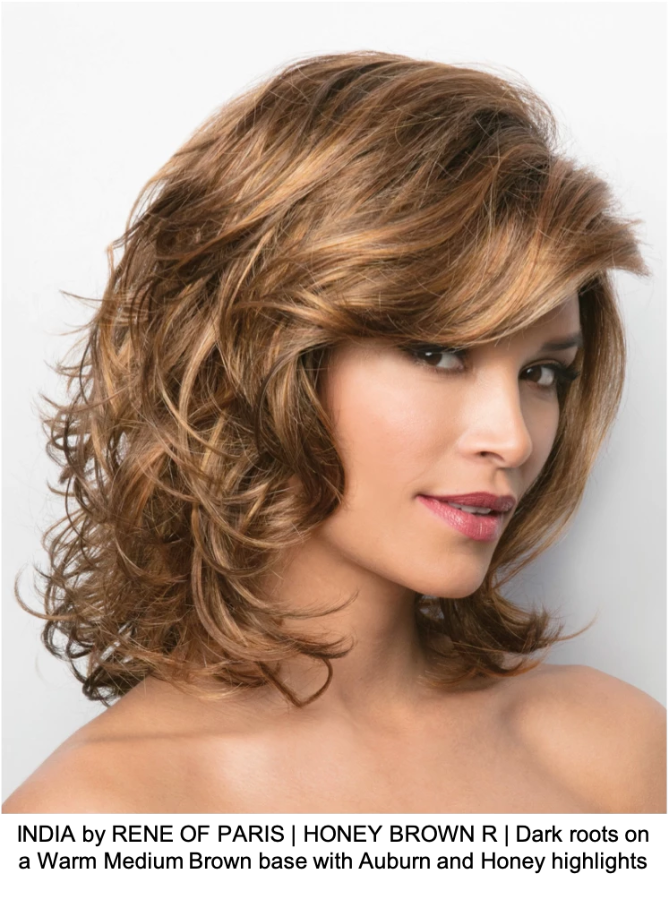 INDIA by RENE OF PARIS | HONEY BROWN R | Dark roots on a Warm Medium Brown base with Auburn and Honey highlights