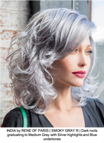 INDIA by RENE OF PARIS | SMOKY GRAY R | Dark roots graduating to Medium Gray with Silver highlights and Blue undertones