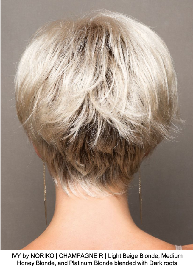 IVY by NORIKO | CHAMPAGNE R | Light Beige Blonde, Medium Honey Blonde, and Platinum Blonde blended with Dark roots