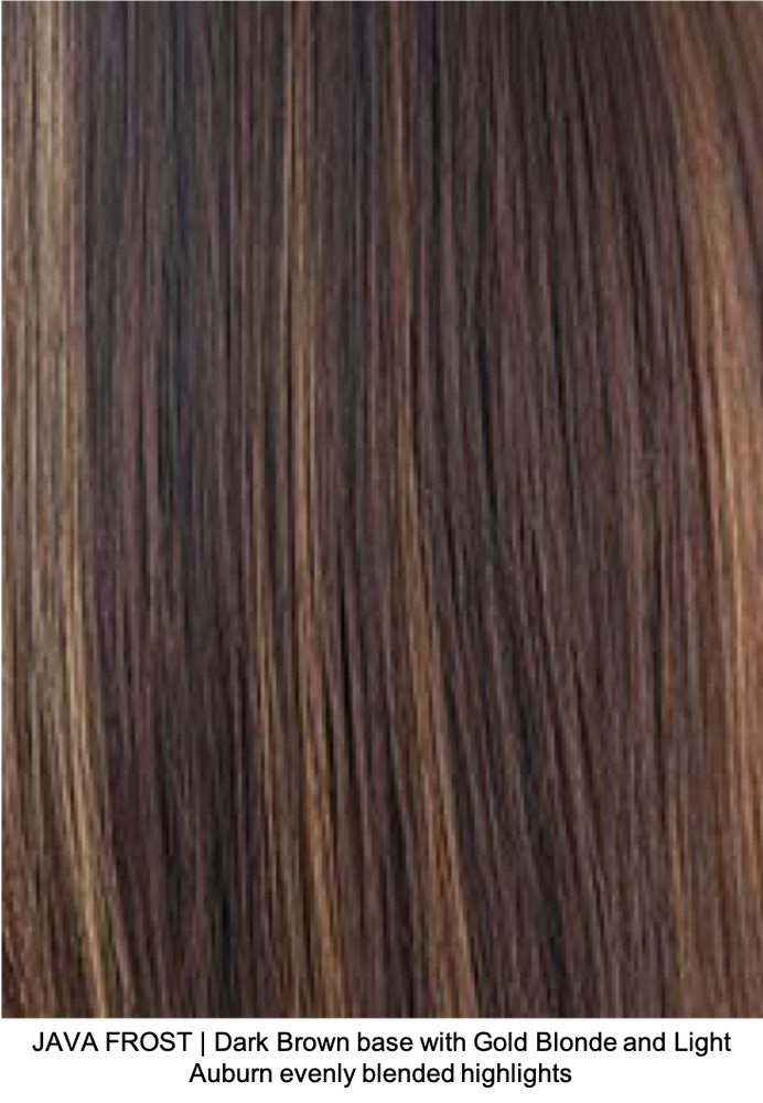 JAVA FROST | Dark Brown base with Gold Blonde and Light Auburn evenly blended highlights