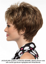 JACQUELINE by ENVY | TOASTED SESAME | Medium Brown roots with overall Light Brown highlighted with Wheat Blonde