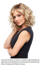 JULIANNE PETITE Wig by JON RENAU in 12FS8 | Light Gold Brown, Light Natural Gold Blonde and Pale Natural Gold-Blonde Blend, Shaded with Medium Brown