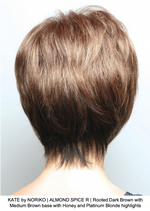 KATE by NORIKO | ALMOND SPICE R | Rooted Dark Brown with Medium Brown base with Honey and Platinum Blonde highlights