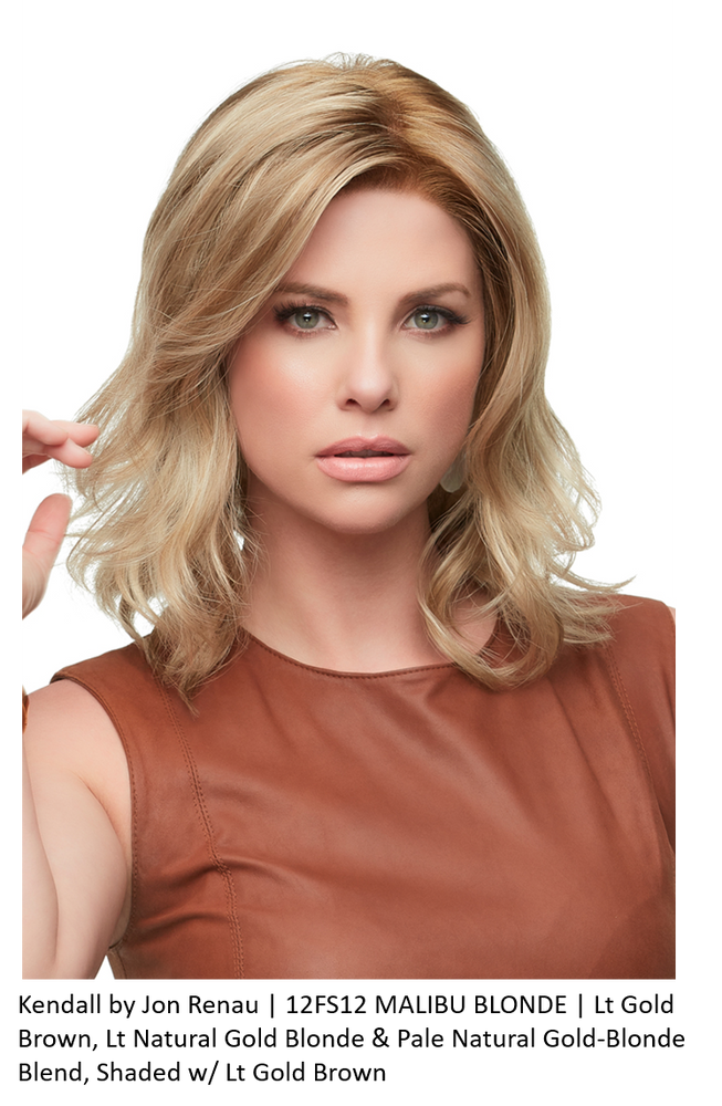 KENDALL by JON RENAU in 12FS12 MALIBU BLONDE | Lt Gold Brown, Lt Natural Gold Blonde & Pale Natural Gold-Blonde Blend, Shaded w/ Lt Gold Brown