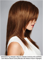 KNOCKOUT by RAQUEL WELCH | R6/30H CHOCOLATE COPPER | Dark Medium Brown Evenly Blended with Medium Auburn Highlights