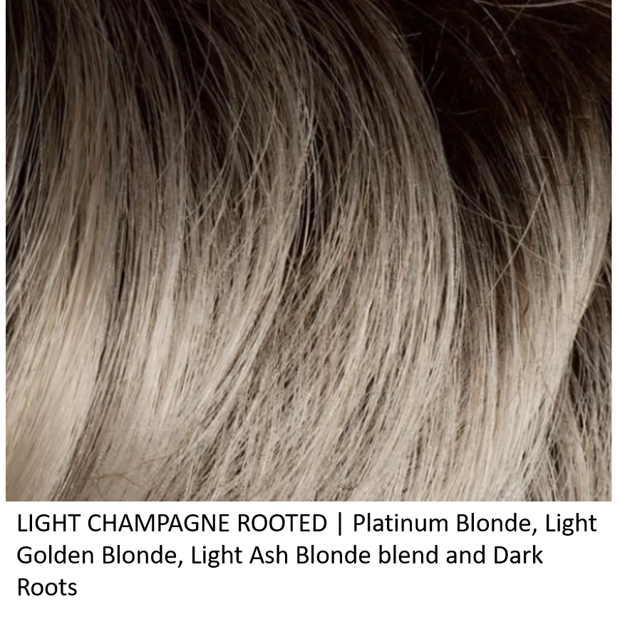 LIGHT CHAMPAGNE ROOTED | Platinum Blonde, Light Golden Blonde, Light Ash Blonde blend and Dark Roots
