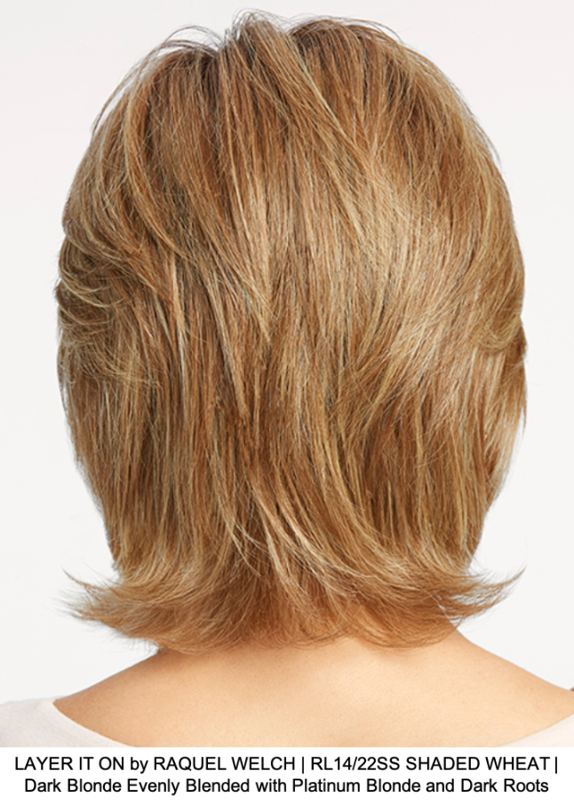 LAYER IT ON by RAQUEL WELCH | RL14/22SS SHADED WHEAT | Dark Blonde Evenly Blended with Platinum Blonde and Dark Roots